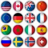 Insieme dei bottoni o delle icone lucidi con i paesi popolari delle bandiere Immagine Stock