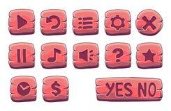Insieme dei bottoni quadrati di legno rossi Fotografia Stock