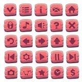 Insieme dei bottoni quadrati di legno rossi Immagine Stock Libera da Diritti