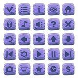 Insieme dei bottoni quadrati di pietra Immagine Stock Libera da Diritti