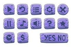 Insieme dei bottoni quadrati di pietra Immagini Stock Libere da Diritti