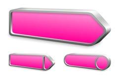 Insieme dei bottoni rosa della freccia del metallo Fotografia Stock