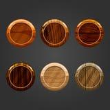 Insieme dei bottoni rotondi di legno Immagini Stock Libere da Diritti