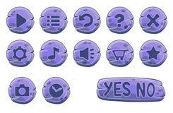 Insieme dei bottoni rotondi di pietra porpora Fotografie Stock Libere da Diritti