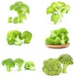 Insieme dei broccoli verdi freschi su un fondo bianco isolato Fotografia Stock