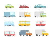Insieme dei bus e dei camion trasparenti delle automobili del fumetto differente Illustrazione piana delle azione di vettore Immagine Stock Libera da Diritti