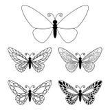 Insieme dei butteflies isolati su bianco Immagine Stock Libera da Diritti