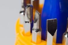 Insieme dei cacciaviti in macrofotografia Fotografia Stock