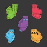 Insieme dei calzini colorati della lana Immagini Stock Libere da Diritti