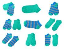 insieme dei calzini differenti del bambino del cotone isolati su fondo bianco Immagine Stock Libera da Diritti