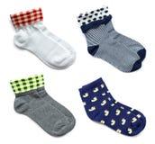 Insieme dei calzini su bianco Fotografie Stock