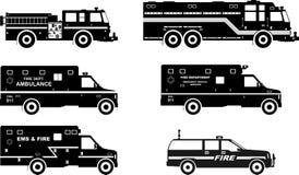 Insieme dei camion dei vigili del fuoco differenti delle siluette e Immagini Stock Libere da Diritti
