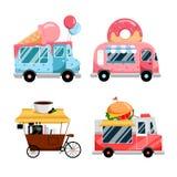 Insieme dei camion dell'alimento della via, isolato su fondo bianco Illustrazione variopinta piana di vettore Servizio dei pasti  royalty illustrazione gratis