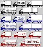 Insieme dei camion di consegna Fotografia Stock Libera da Diritti