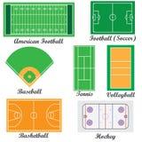 Insieme dei campi per i giochi di sport. Fotografie Stock