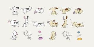 Insieme dei cani del fumetto Animali domestici felici zoo immagini stock