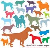 Insieme dei cani variopinti silhouettes-8 royalty illustrazione gratis