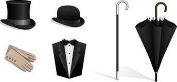 Insieme dei cappelli, bastone da passeggio, ombrello, guanti, tuxe Fotografie Stock Libere da Diritti