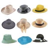 insieme dei cappelli di modo isolati su bianco Fotografia Stock Libera da Diritti