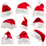 Insieme dei cappelli di Santa Claus Fotografia Stock