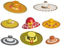 Insieme dei cappelli femminili Immagine Stock