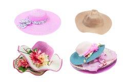 Insieme dei cappelli femminili di estate su fondo bianco Immagine Stock Libera da Diritti