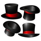 Insieme dei cappelli neri del cilindro del mago illustrazione vettoriale