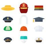 Insieme dei cappelli professionali Immagine Stock