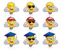 Insieme dei caratteri della lampadina di vettore, mascotte Perfezioni per la scuola o il ano illustrazione di stock
