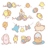 Insieme dei caratteri divertenti di Pasqua Immagini Stock