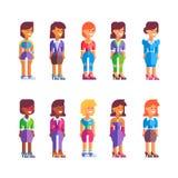 Insieme dei caratteri femminili nella progettazione piana Vettore Fotografie Stock