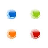 Insieme dei cerchi astratti su fondo bianco, blu, arancia, rosso a Fotografia Stock