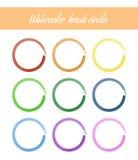 Insieme dei cerchi della spazzola dell'acquerello Fotografia Stock Libera da Diritti