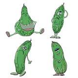 Insieme dei cetrioli verdi con le emozioni royalty illustrazione gratis