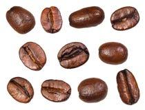 Insieme dei chicchi di caffè arrostiti fotografia stock libera da diritti
