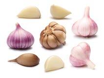 Insieme dei chiodi di garofano di aglio differenti, percorsi Fotografia Stock