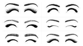 Insieme dei cigli falsi e delle sopracciglia neri Prodotto di bellezza della donna Sferze false realistiche Cigli femminili diseg Immagine Stock