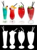 Insieme dei cocktail decorati con le foglie di menta e le fette arancio con un alfa canale Immagine Stock Libera da Diritti
