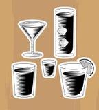 Insieme dei cocktail dell'intaglio in legno Fotografia Stock