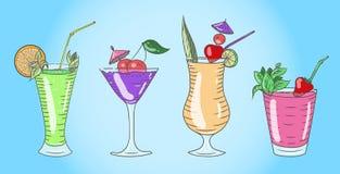Insieme dei cocktail di vetro colorati Immagine Stock Libera da Diritti