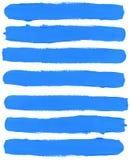 Insieme dei colpi blu della spazzola dell'acquerello Immagini Stock