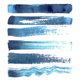 Insieme dei colpi blu della spazzola della marina Immagini Stock