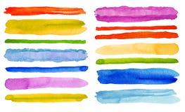Insieme dei colpi della spazzola dell'acquerello Isolato su bianco Fotografie Stock Libere da Diritti