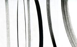 Insieme dei colpi della spazzola Linee fatte a mano raccolta di lerciume L'insieme del nero i colpi del pennello isolati su bianc Immagini Stock