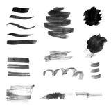 Insieme dei colpi e degli splotches neri della spazzola dell'inchiostro Immagini Stock Libere da Diritti