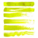 Insieme dei colpi gialli della spazzola Immagini Stock Libere da Diritti