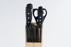 Insieme dei coltelli in blocco di legno Fotografie Stock Libere da Diritti