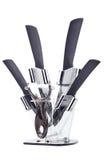 Insieme dei coltelli ceramici della cucina Fotografie Stock Libere da Diritti