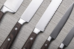 Insieme dei coltelli da cucina di alta qualità Fotografia Stock Libera da Diritti