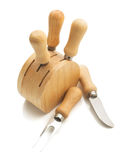 Insieme dei coltelli del formaggio su bianco Fotografia Stock Libera da Diritti